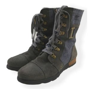 SOREL Major Carly Gray Suede Denim Ankle Boots